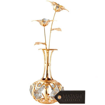 Mothers Day Gift 24k Gold Plated Sun Flowers In A Vase with Red Crystals
