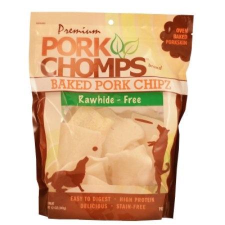 Pork Chomps Premium - Baked Pork Chipz Porkskin Dog Treats: 12 oz