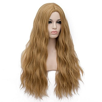 Amback Curly Wave Cosplay Halloween Lolita Ombre Wigs for Women Plus Wig Cap F21, Golden Blond, Long