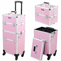 Mefeir 2-IN-1 Rolling Makeup Train Case w/Extra Bottom Lid,4 Removable Wheels Travel Lift Handle+Strap,Lockable Beauty Cosmetic Trolley Artist Organizer, for Mother Wife Girlfriend Daughter,Pink