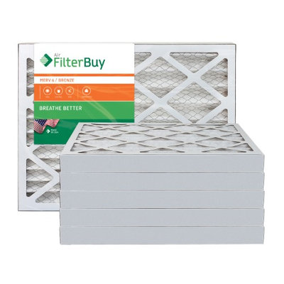 AFB Bronze MERV 6 12x25x2 Pleated AC Furnace Air Filter. Filters. 100% produced in the USA. (Pack of 6)