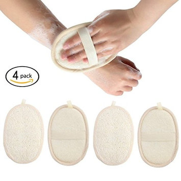 4 Packs Exfoliating Loofah Sponge Pads, Natural Luffa Material Loofah Sponge for Men and Women, Perfect for Bath Shower and Spa