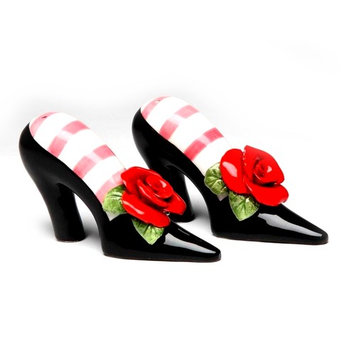 Sugar High Social - Black Heels with Red Rose Salt & Pepper ShakerBy Babs