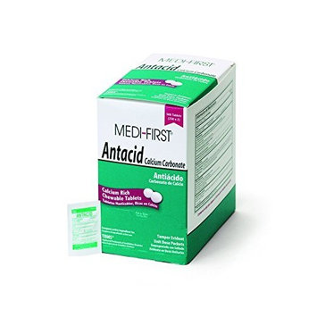 Medi-First 80213 Chewable Mint Antacid Tablets, 250-Packets of 2