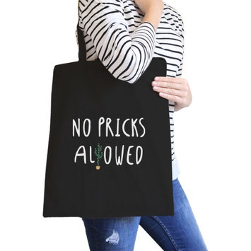 365 Printing Inc No Pricks Allowed Black Canvas Bag Gifts For Teenage Girl Tote Bags