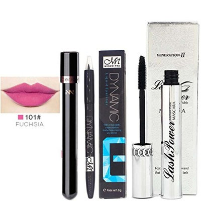 Menow Waterproof Long Lasting Liquid Eyeliner Pen Lip Gloss Mascara Set