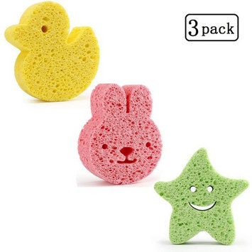 Natural Baby Bath Sponge - 3 Pack Ultra Soft Premium wood pulp fiber sponge Soft on Baby's Tender Skin,Biodegradable,Hypoallergenic,Absorbent Natural Sea Sponge