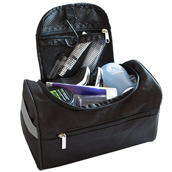TravelMore Hanging Travel Toiletry Bag Organizer & Bathroom Storage Dopp Kit with Hook for Travel Accessories Toiletries Shaving & Makeup for Men and Woman (Black, Blue & Gray)