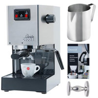 Gaggia 14101 Classic Espresso Machine Brushed Stainless Steel + 2-Pack Coffee Mug & Iced Beverage Cup + Accessory Kit