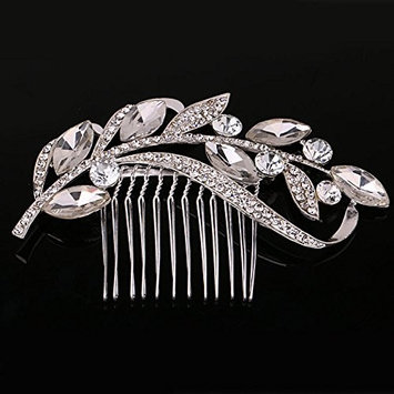 Urberry Pearl Crystal Bridal Hair Clip Rose Gold Hair Comb for Brides Wedding