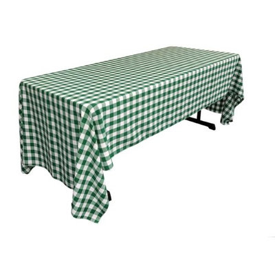 LA Linen TCcheck60x144-HunterGreenK20 Polyester Gingham Checkered Rectangular Tablecloth White & Hunter Green - 60 x 144 in.