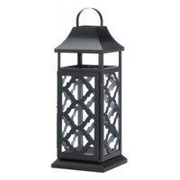 Ac Treasures Black Damask Candle Lantern