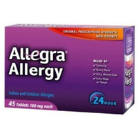 Allegra Allergy - 45 Tablets (180 mg each) 2 PACK = 90 TABLETS!!