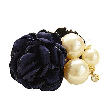 Bluelans Women Satin Ribbon Rose Flower Pearls Ponytail Hair Band Hair Accessories