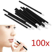 Celendi 100PCS Disposable MakeUp Lip Brushes, Lipstick Gloss Wands Applicator Black Handle
