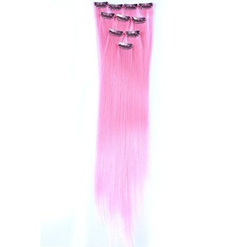 Neitsi 10pcs 18inch Colored Highlight Synthetic Clip on in Hair Extensions #F01 Light Pink