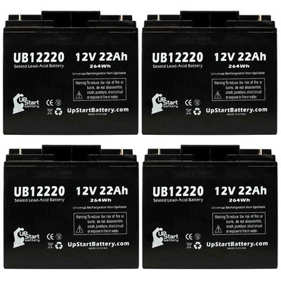 4x Pack - Eagle Pitcher CFM12V20 Battery Replacement - UB12220 Universal Sealed Lead Acid Battery (12V, 22Ah, 22000mAh, T4 Terminal, AGM, SLA)
