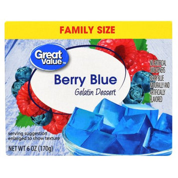 Gilster-mary Lee Corp Great Value Gelatin Dessert, Family Size, Berry Blue, 6 oz