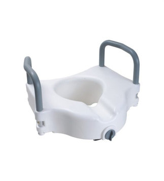 MDS Online Elevated Toilet Seat With Padded Removable Hand Rails - One Year Warranty, 5'H, 300 Lb Capacity, White