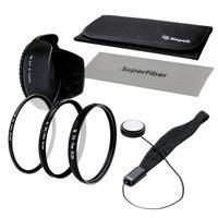 Lusana Studio 77mm Lens Filter Kit for Nikon Canon DSLR Filter(UV, CPL, FLD),Pouch, Tulip Lens Hood, Cap Keeper, Cloth