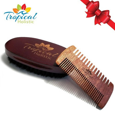Premium Men's Beard Kit with Quality Brush and Comb Combo With Deluxe Cotton Bag in Gift Box. Top Quality Boar Bristle & Premium Wood. Perfect Gift For Your Special Guy