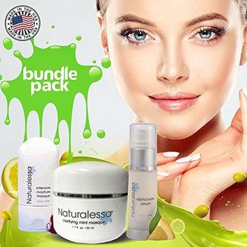 Alpha Beta Serum-lightweight Treatment Gel & Clarifying Clay Mint Masque Decongest Skin - Age Defying Treatment & Professional Intensive Moisture - Made in USA - Pack of 3