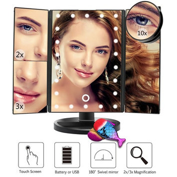 Led Lighted Makeup Mirror with 1X 2X 3X Magnifying Mirror Trifold 22 LED Lighted Mirror, USB Charging Touch Screen and 180 Degree Stand for Countertop Cosmetic Makeup