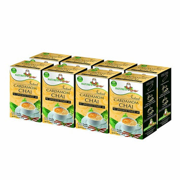 Nature's Guru Instant Cardamom Chai Tea Drink Mix, Unsweetened, 10 Count Single Serve On-the-Go Drink Packets (Pack of 8)