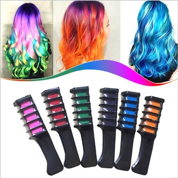 Tianmeijia 6-color PACK Temporary Hair Color Comb-Washable Hair Chalk for Hair Dye-Non toxic and Safe for Kids, for Party Fans Cosplay DIY