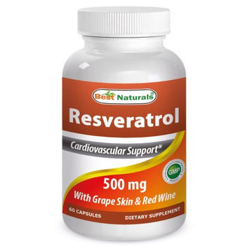 Best Naturals High Potency Resveratrol with Grape Skin & Red Wine Extract, 500 Mg, 60 Capsules