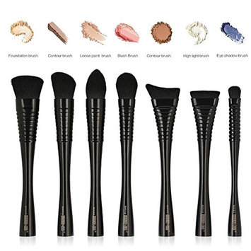 ZHUOTOP 7Pcs Soft Black Makeup Brushes Set Blending Powder Foundation Contour Blush Highlight