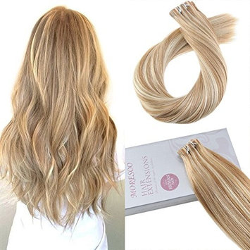 Moresoo 18 Inch Blonde Tape in Hair Extensions Remy Human Hair Color #27 Blonde Mixed with #613 Bleach Blonde 20PCS 50G Glue in Hair Tape on Human Hair Extensions