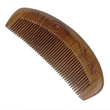Natural Black Sandal Wood Comb with Handmade Exquisite Carved Pattern and Gift Box - No Snags, Tangle and Static with Smooth Handle