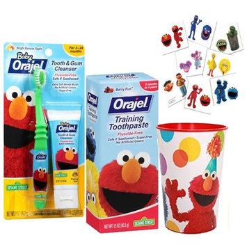 Sesame Street Elmo Toddler Trainning Set! Toothbrush, Fluoride Free Toothpaste & Mouthwash Rinse Cup! Plus Sesame Street Positive Reinforcement Reward Tattoos