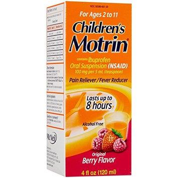 3 Pack Children's Motrin Ibuprofen Oral Suspension Pain Reliever Berry 4oz Each