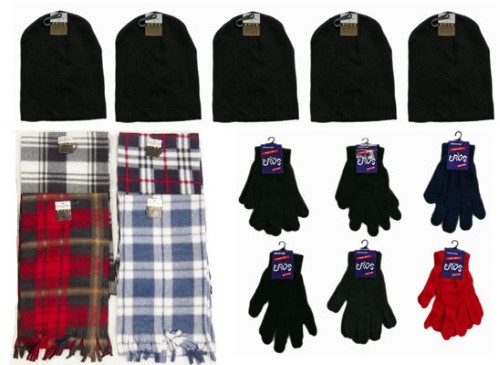 Ddi Winter Beanie Hats, Gloves, And Plaid Scarves (Pack Of 180)