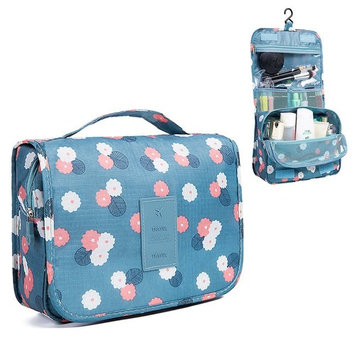HaloVa Toiletry Bag Multifunction Cosmetic Bag Portable Makeup Pouch Waterproof Travel Hanging Organizer Bag for Women Girls, Blue Flowers