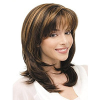 Women Wigs Medium Long Curly Brown Mixed Color Blonde Natural Hair Full Wigs