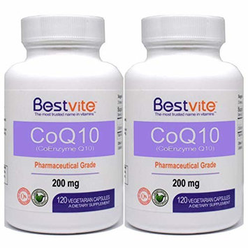 CoQ10 200mg (240 Vegetarian Capsules) (2-Pack) Naturally Fermented - No Stearates