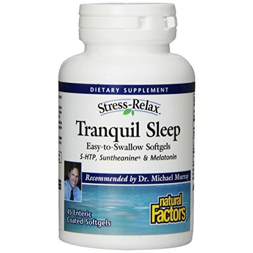Stress-Relax by Natural Factors, Tranquil Sleep, Sleep Aid with Melatonin, 5-HTP and L-Theanine, Vegan and Gluten Free, 45 softgels (22 servings)
