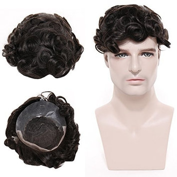 Toupee for Men 100% Indian Human Hair Wig Thin Skin French Lace with PU 53g # 1B Natural Black
