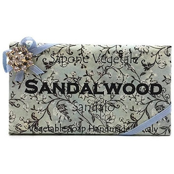 Alchimia Jeweled Sandalwood Vegetable Soap Handmade In Italy - 10.5 oz Soap Bar
