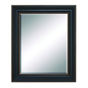Benzara Beveled Mirror with Saddle Brown Finish and Brown Accent