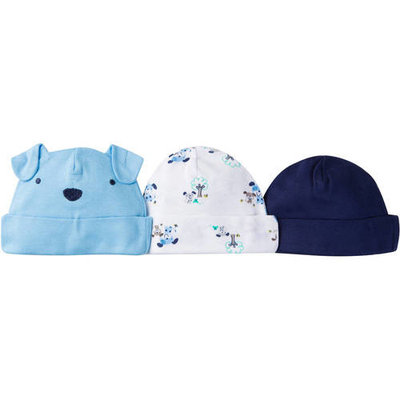 born Baby Boy Assorted Caps, 3-Pack
