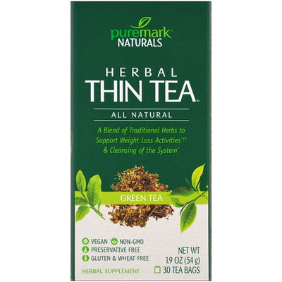 PureMark Naturals, Herbal Thin Tea, Green Tea , 30 Tea Bags, 1.9 oz (54 g) [Flavor : Green Tea]