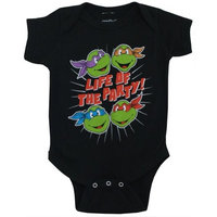 TMNT Life of the Party TV Show Mighty Fine Baby Creeper Romper Snapsuit,Black,0-6 Months