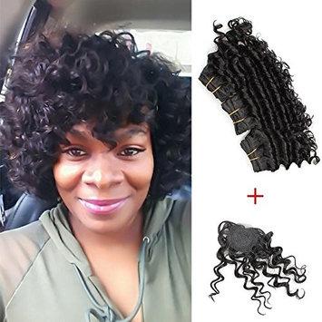 KISS HAIR 3 Pcs Deep Wave Virgin Hair Weave Unprocessed Brazilian Human Hair Extensions Natural Color 8 inch Short Curly Hair Bob Style