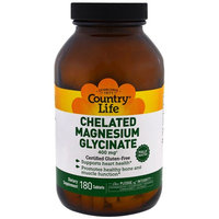 Country Life, Chelated Magnesium Glycinate, 180 Tablets [Package Quantity : 180 Tablets]