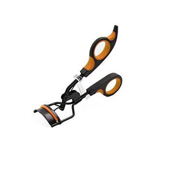 uxcell Orange Black Portable Handle Eyelash Curler Curling Clip Beauty Makeup Tool
