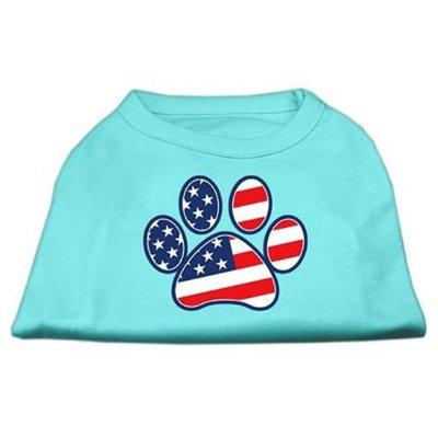 Mirage Pet Products 511701 LGAQ Patriotic Paw Screen Print Shirts Aqua L 14